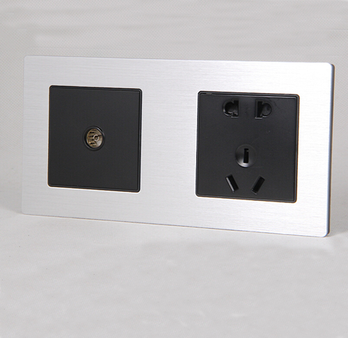 sjzz-SN-201-二位本色铝板 多媒体插座