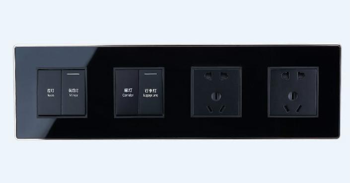 sjzz-204四联轻触开关(玻璃黑)