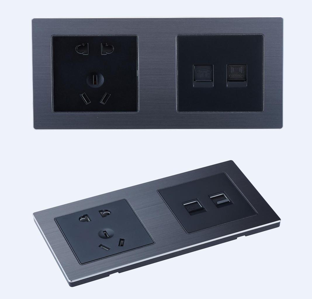 sjzz-SN-207两联多媒体插座(银灰色+黑色)